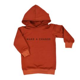 Baggy Hoodie dress met opdruk 'make a change' - zijzakje