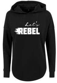 Baggy Dames Hoodie |Let's Rebel | Black