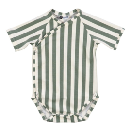 Baby Romper - Vertical cream/green
