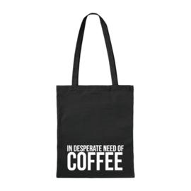 Canvas tas - Need Coffee - zwart