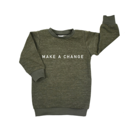 Baggy Sweaterdress met opdruk 'Make a Change'