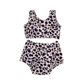 Baby Highwaist Bikini  Set | Leopard Bluish Dierenprint