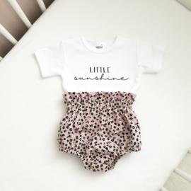 Leopard pink Bloomer & shirt met oprduk