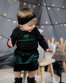 Shirt Little Snowflake | Rokje Velvet Emerald Green