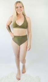 Exclusieve Dames Highwaist Bikini (Triangel) Khaki Green