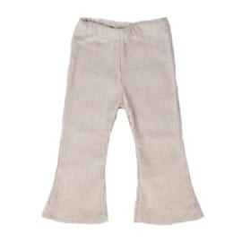 Flared broekje | Cotton Rib | Sand