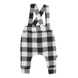 Suspender pants - ruit monochrome
