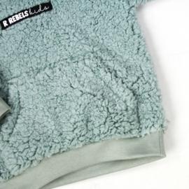 Kinder teddy Hoodie met Voorzak en Logo | Minty Blue
