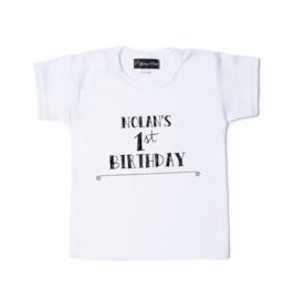 kinderverjaardag T-shirt 'Birthday' (jouw naam, alle leeftijden mogelijk)