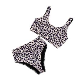 Dames Highwaist Bikini  Set Sport| Leopard Bluish Dierenprint