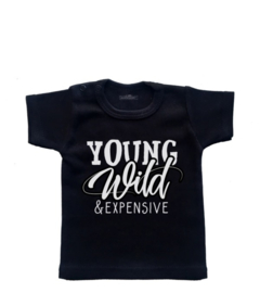 Grappig kinder shirt 'Young, wild & expensive'.