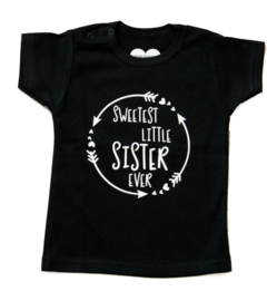 Klein zusje shirt 'Sweetest little sister ever'