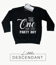 Eerste verjaardag sweater jongen -   'the one and only party boy'