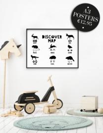 babykamer en kinderkamer Poster  - 'discover map'