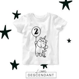 Verjaardag shirt 2 jaar-  eenhoorn 2 jaar