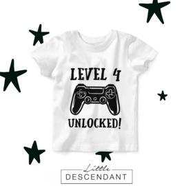 Verjaardag shirt 4e verjaardag - Level 4 unlocked!