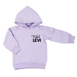 Kinder hoodie met klepzakje - Rebel .. jouw naam (7 kleuren)