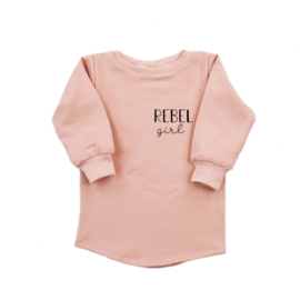 Baggy Sweaterdress met opdruk 'Rebel Girl'