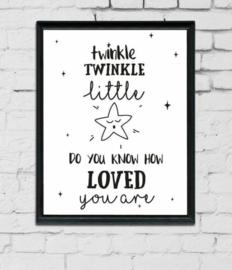 Babykamer en kinderkamer Poster  - 'Tinkle twinkle little star'