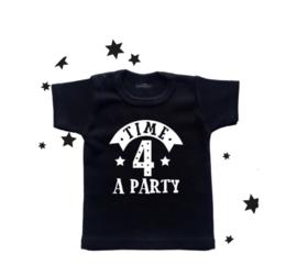 verjaardag shirt 4e verjaardag - 'Time 4 a party'