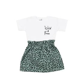 Setje: Shirt Wild & Free | Rokje Leopard Old Green