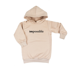 Baggy Hoodie dress met opdruk 'Possible' - zijzakje