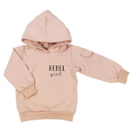 Kinder hoodie met klepzakje - Rebel Girl (7 kleuren)