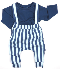 Suspender pants vertical blue