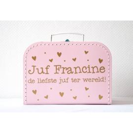 koffertje als cadeau voor een juf of meester.  ontwerp 1