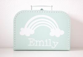 Kinderkoffertje met naam - regenboog