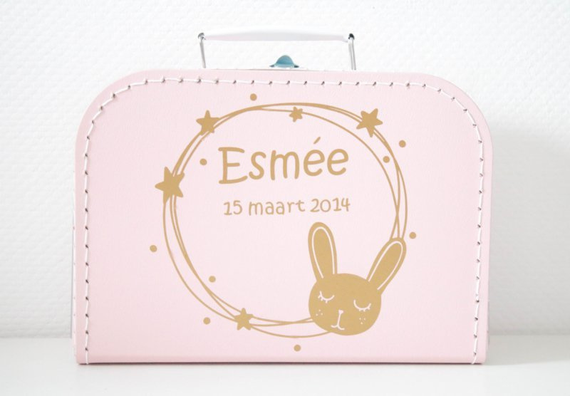 Kinderkoffertje met naam - konijn