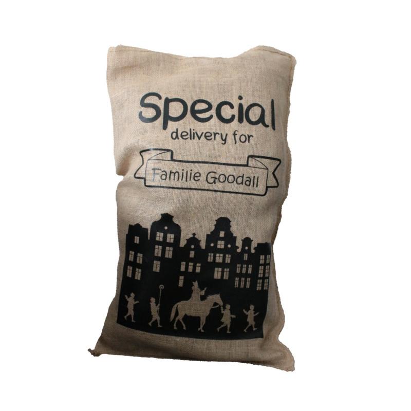 Jute zak met eigen naam - Special Delivery for..