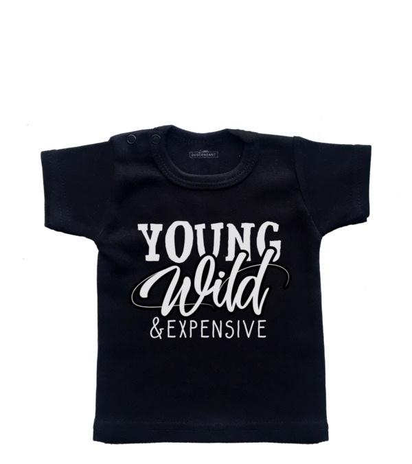 Grappig kinder shirt 'Young, wild & expensive'.