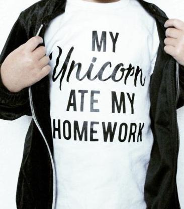 Shirt 'My unicorn ate my homework'