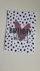 Kaart Birthday Wishes met roze hart en zwarte vlekjes