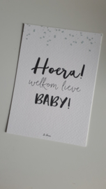 Hoera welkom lieve baby! blauwe confetti