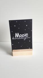klein kaartje Mooie kerstdagen in houten blokje