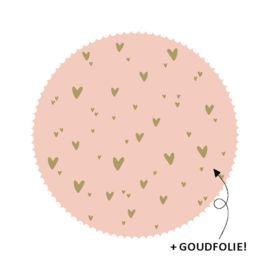 Sluitzegel roze met gouden hartjes