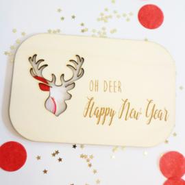 Kerstkaart - Oh Deer Happy Newyear