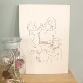 Handgetekende illustratie op Hout