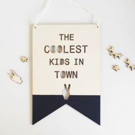 Houten hanger 'Coolest Kid/kids in town'