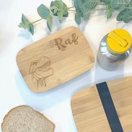 Broodtrommel met naam - RVS/ Bamboe