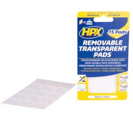 HPX Dubbelzijdige Verwijderbare Transp. Pads (15 stuks) 25mm x 25mm