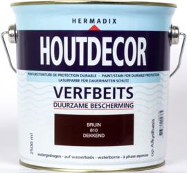 Hermadix Houtdecor Verfbeits Bruin 610 2,5 liter