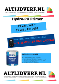 4 keer 2,5 liter Relius Hydro-PU Primer Wit en Zwart
