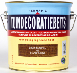 Hermadix Tuindecoratiebeits Transparant Bruin Naturel 766 2,5 liter