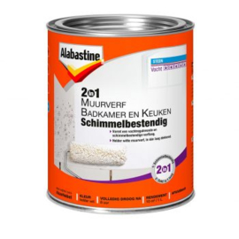 Alabastine 2in1 Muurverf Badkamer en Keuken Schimmelbestendig Wit 1 liter