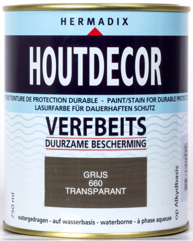 Hermadix Houtdecor Verfbeits Transparant Grijs 660 750 ml