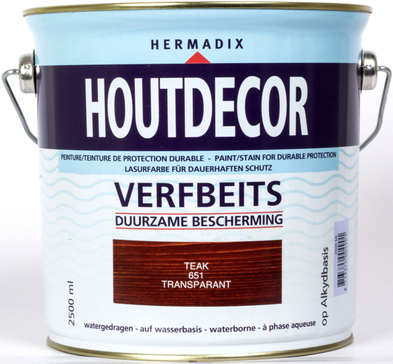 Hermadix Houtdecor Verfbeits Transparant Teak 651 2,5 liter