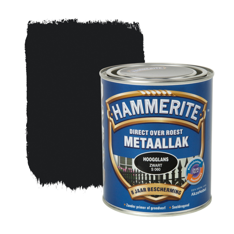 Hammerite Metaallak Zwart S060 Hoogglans 250 ml